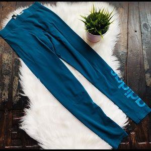 ADIDAS Full Length Logo Leggings Blue XSmall EUC